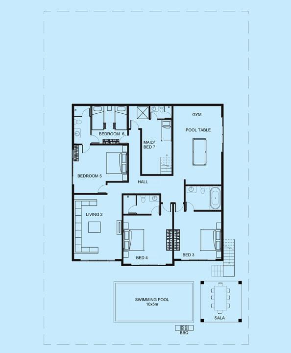 Amber Villa lower level floor plans