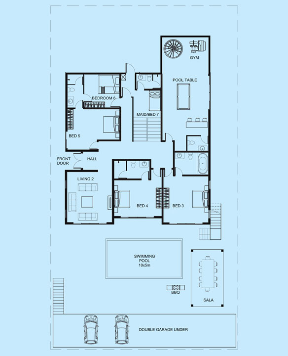 Coral Villa lower level floor plan