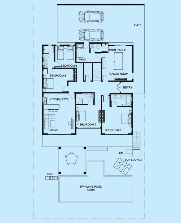 Emerald Villa lower level floor plan