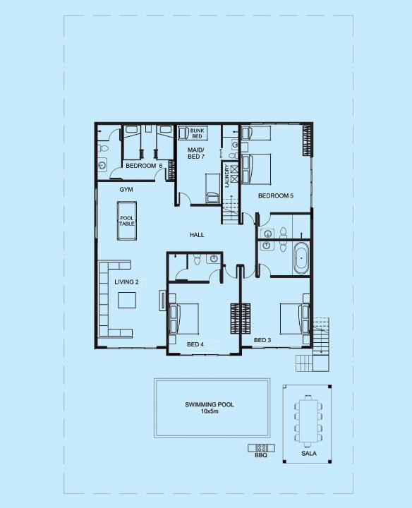 Jade Villa lower level floor plan
