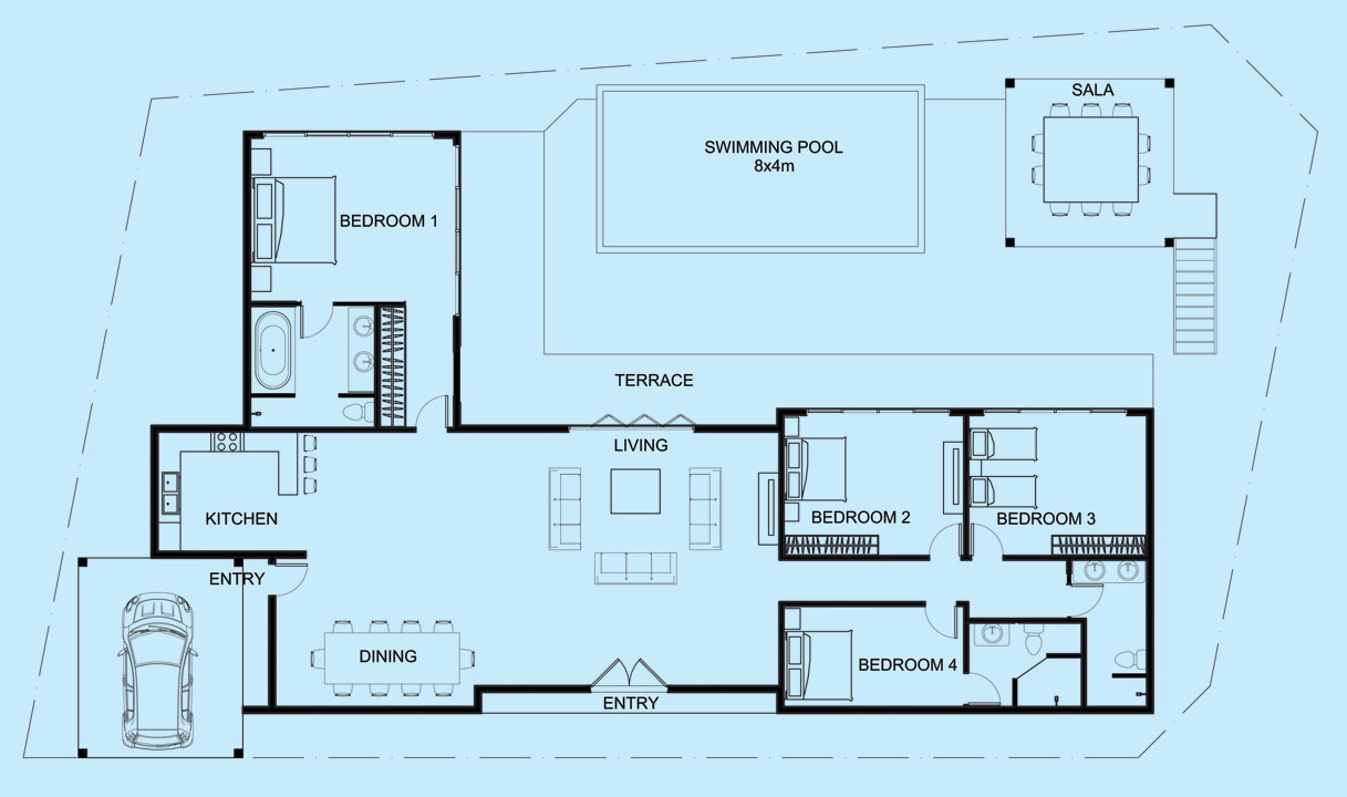 Moonstone Villa upper level floor plan