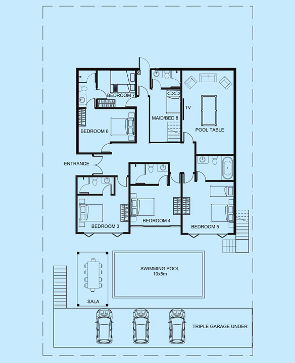 Opal Villa lower level floor plan