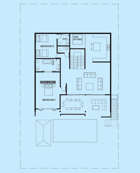 Opal Villa upper level floor plan