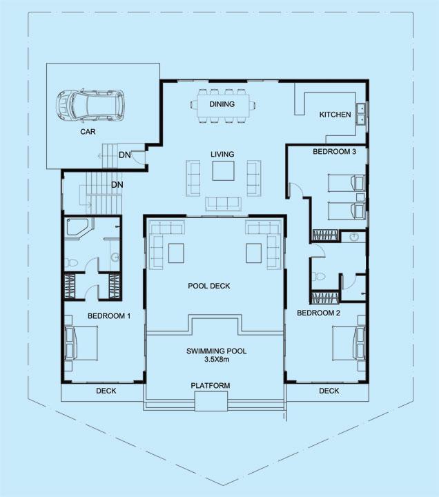 Pearl Villa upper level floor plan