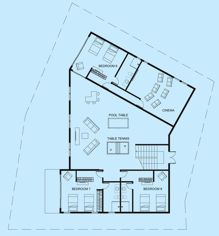 Turquoise View lower level floor plan