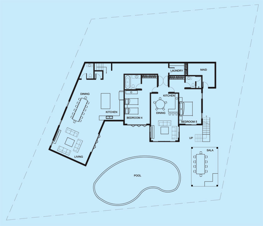 Villa Maria lower level floor plan
