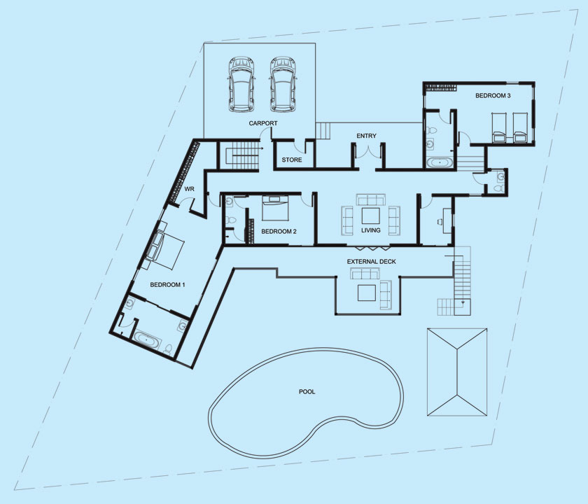 Villa Maria upper level floor plan