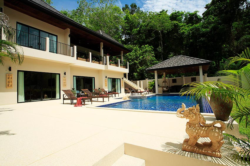 sun deck sun loungers sala pool coral villa nai harn phuket holiday rental