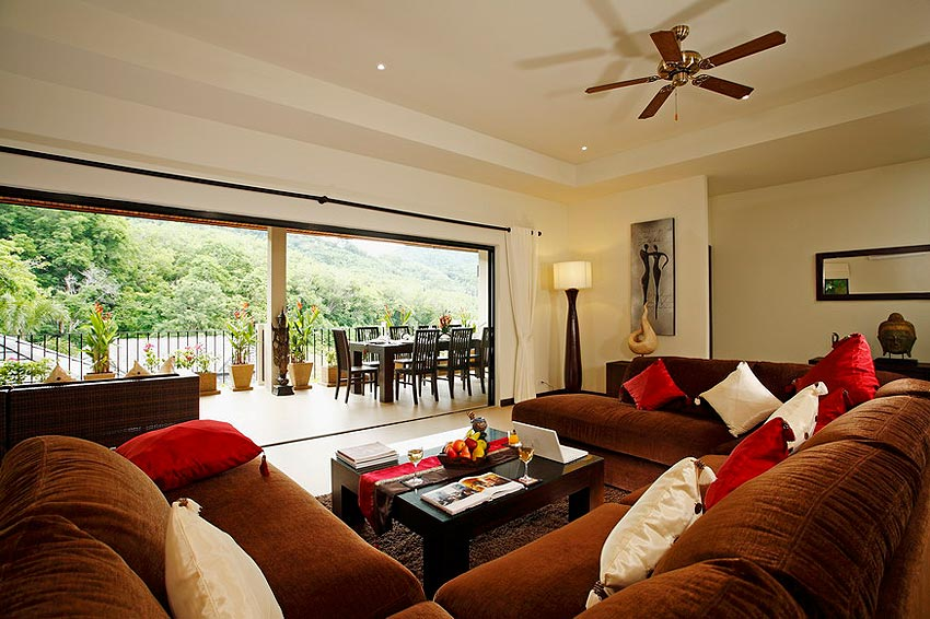 living room overlooking pool coral villa nai harn phuket holiday rental
