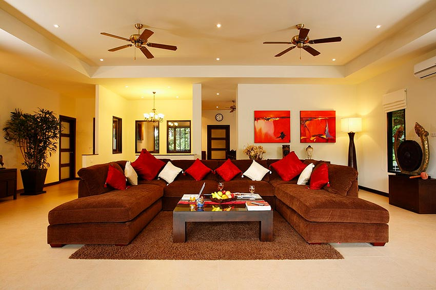 luxury living room coral villa nai harn phuket holiday rental