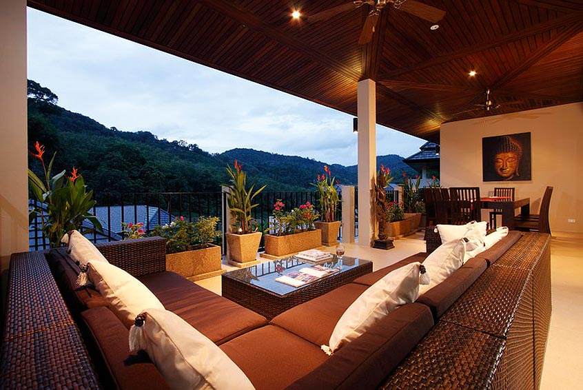 covered baclony overlooking pool coral villa nai harn phuket holiday rental
