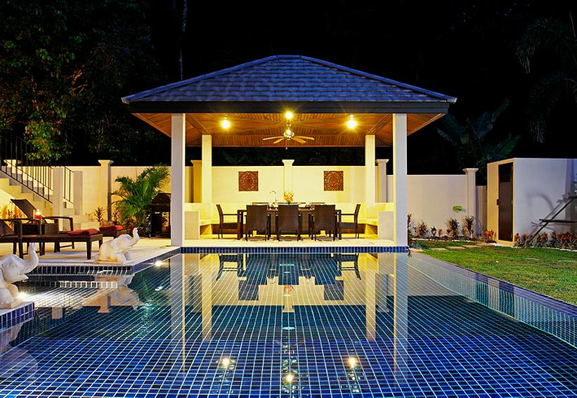 covered sala with seating poolside coral villa nai harn phuket holiday rental