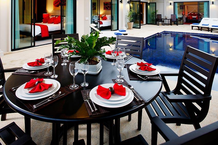 outside dining area crystal villa nai harn phuket holiday rental