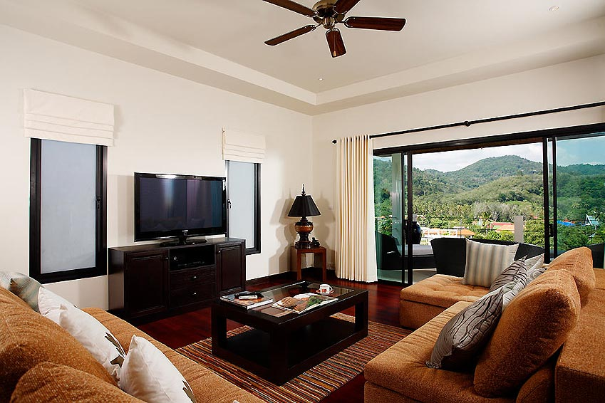 living room with tv multimedia and home theatre emerald villa nai harn phuket holiday rental