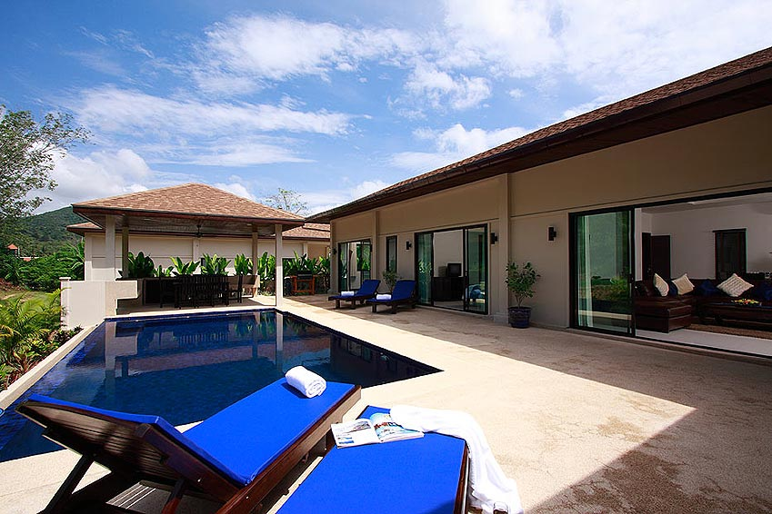 infinity pool sundeck gemstone villa nai harn phuket holiday rental