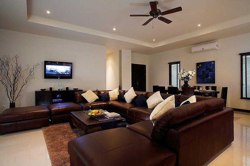 lounge area tv home theatre gemstone villa nai harn phuket holiday rental