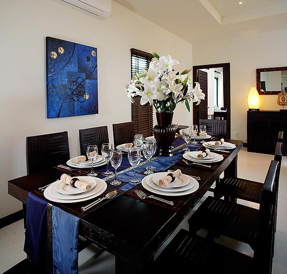 indoor dining room gemstone villa nai harn phuket holiday rental