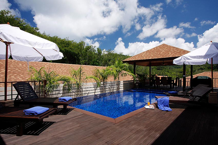 poolside decking moonstone villa nai harn phuket holiday rental