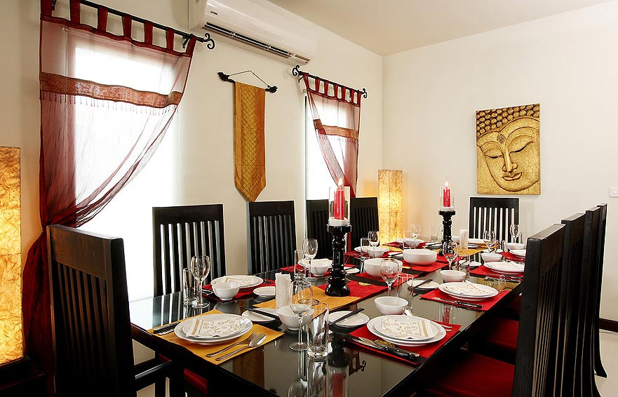 indoor dining room moonstone villa nai harn phuket holiday rental