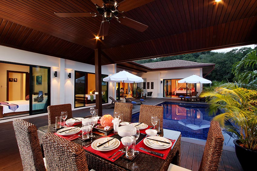 covered sala eating dining area moonstone villa nai harn phuket holiday rental
