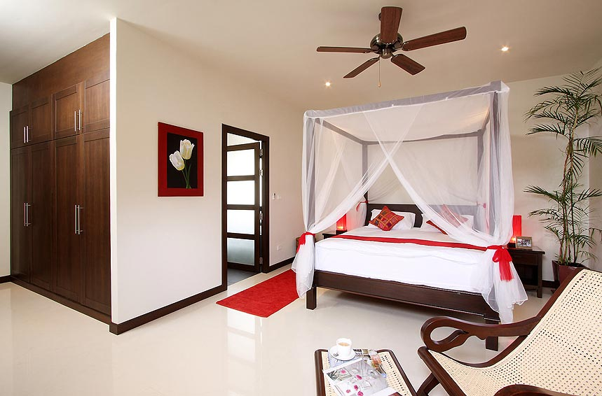 four poster bed moonstone villa nai harn phuket holiday rental