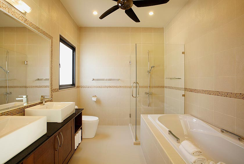 ensuite bathroom with bath onyx villa nai harn phuket holiday rental