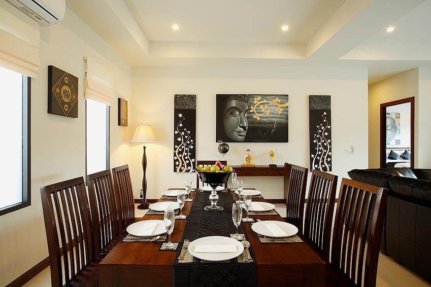 indoor dining room onyx villa nai harn phuket holiday rental