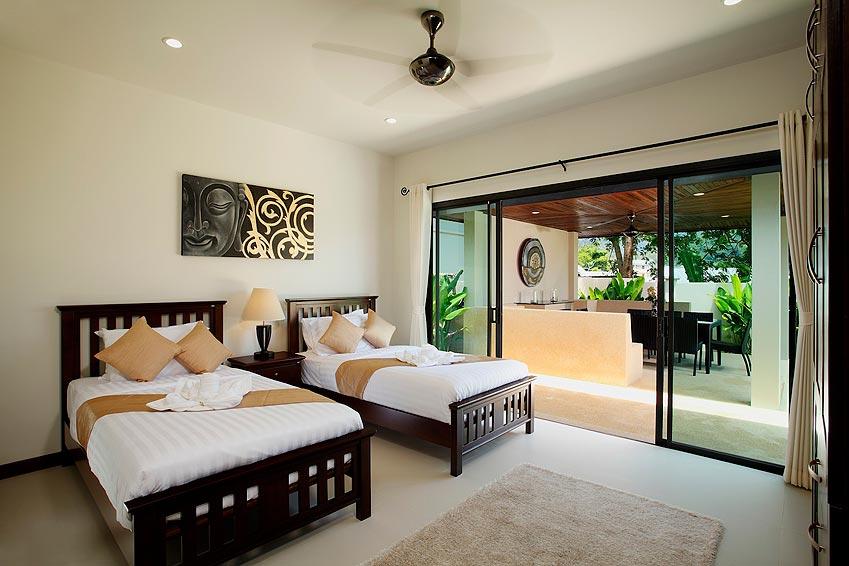 twin bedroom balcony onyx villa nai harn phuket holiday rental