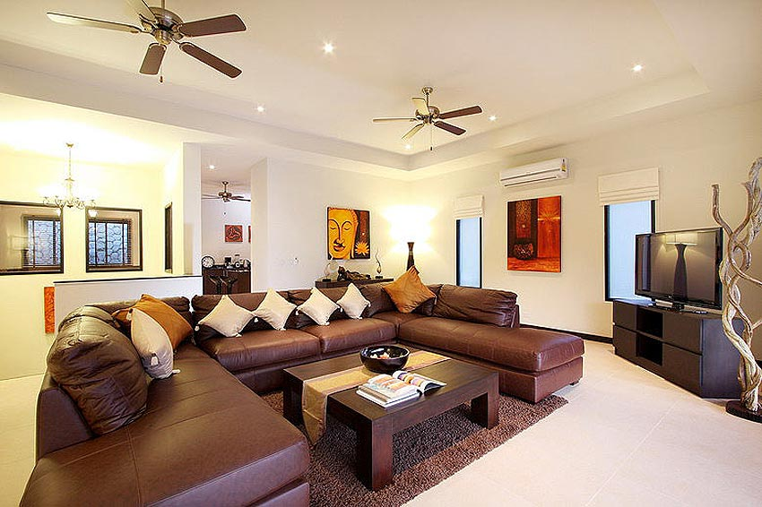 living room home theatre and sofa seating opal villa nai harn phuket holiday rental
