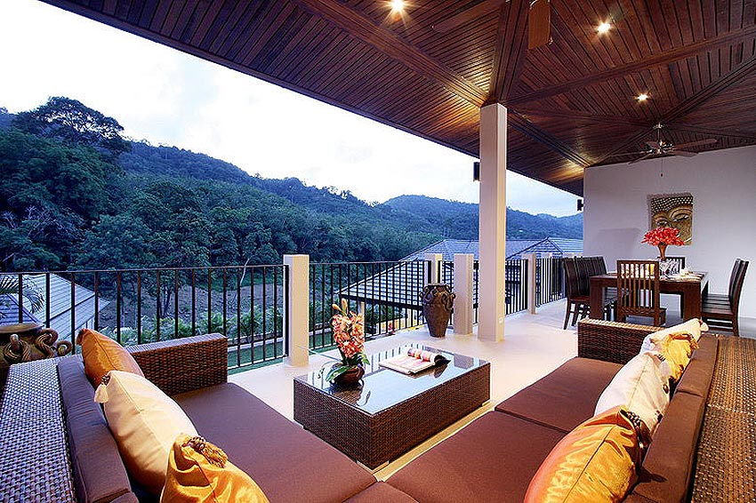 covered balcony overlooking pool opal villa nai harn phuket holiday rental
