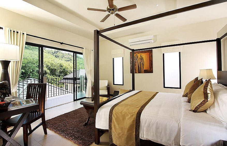 four poster balcony bedroom opal villa nai harn phuket holiday rental
