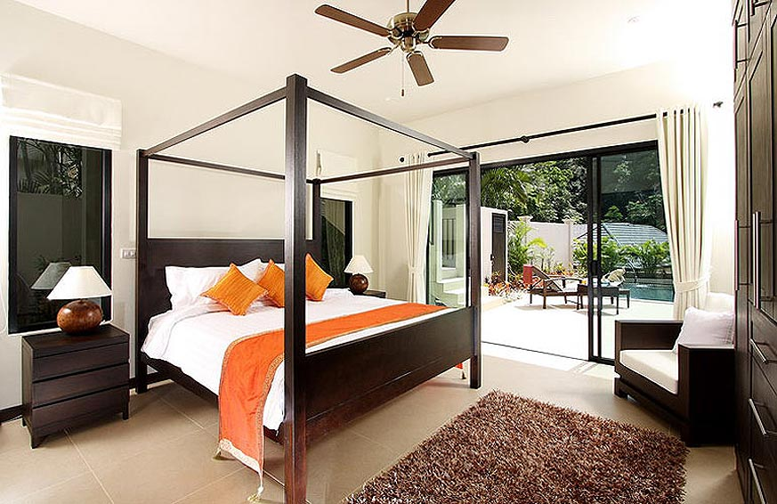 four poster poolside bedroom opal villa nai harn phuket holiday rental
