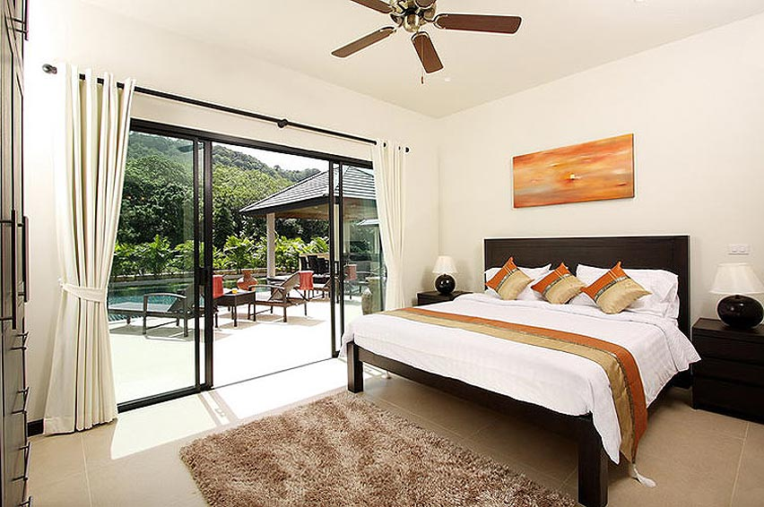 poolside double bedroom opal villa nai harn phuket holiday rental