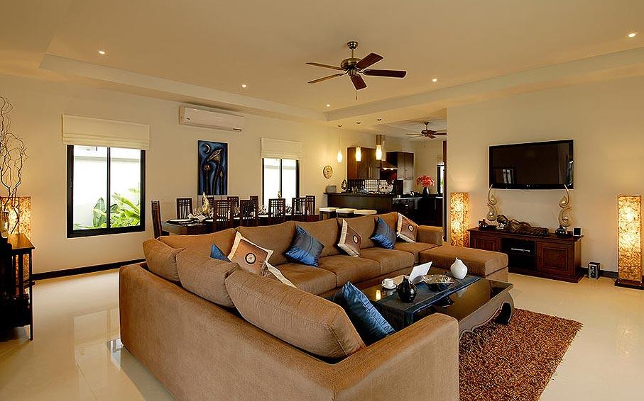 lounge area large sofa pearl villa nai harn phuket holiday rental