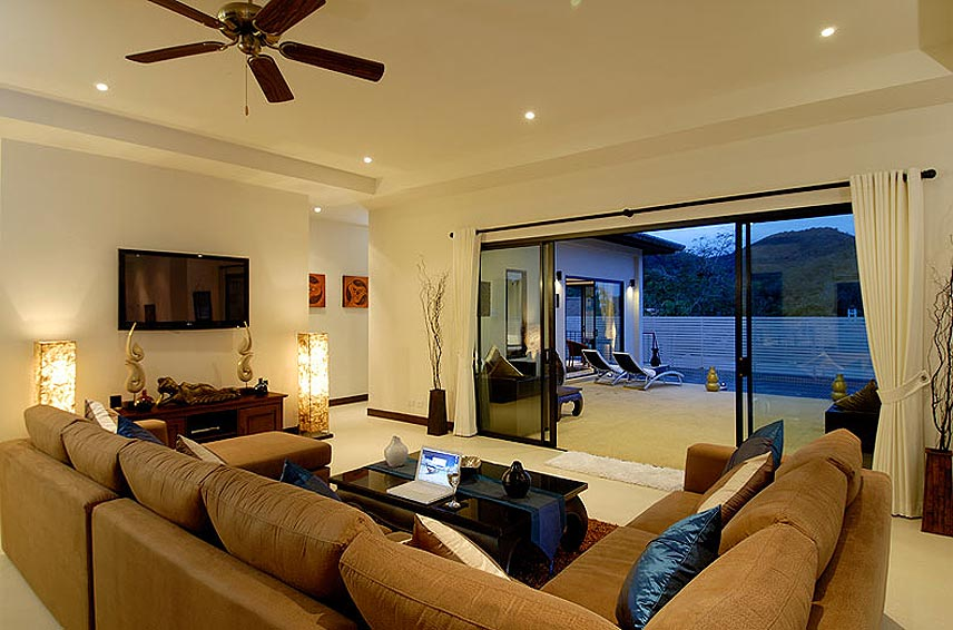 lounge area tv wifi home theatre pearl villa nai harn phuket holiday rental