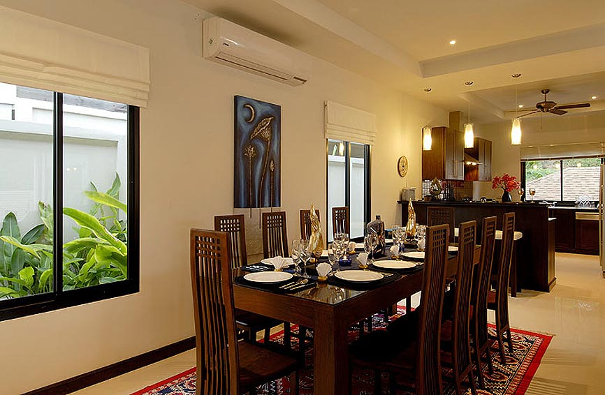 indoor dining room pearl villa nai harn phuket holiday rental
