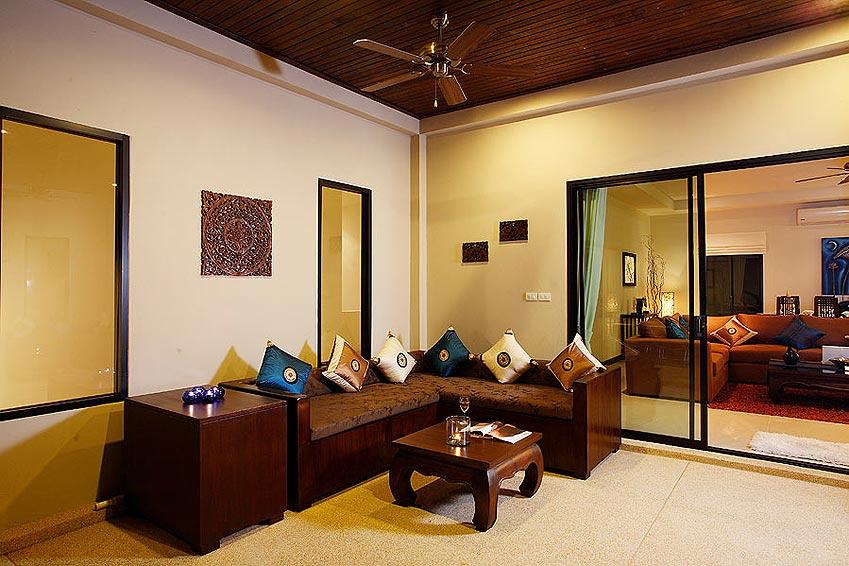 outside covered seating pearl villa nai harn phuket holiday rental