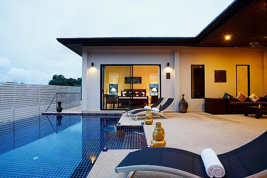 infinity edge pool sundeck pearl villa nai harn phuket holiday rental