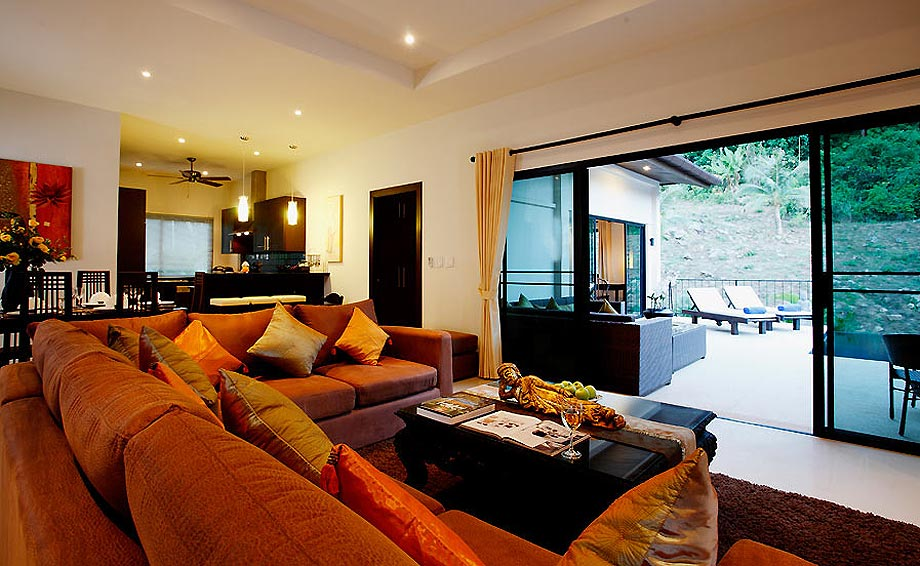 lounge area sapphire villa nai harn phuket holiday rental