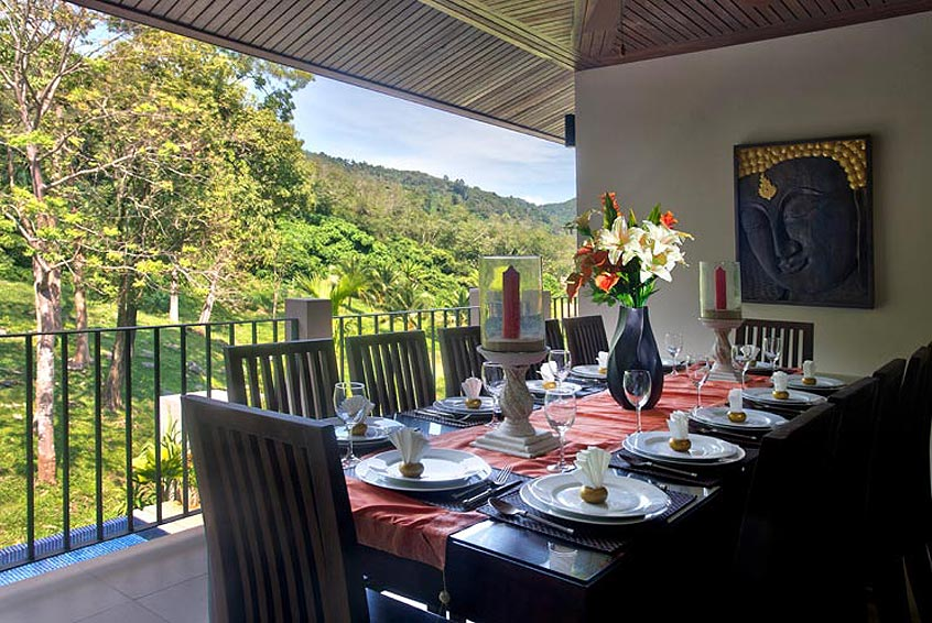 outside balcony dining area sunstone villa nai harn phuket holiday rental