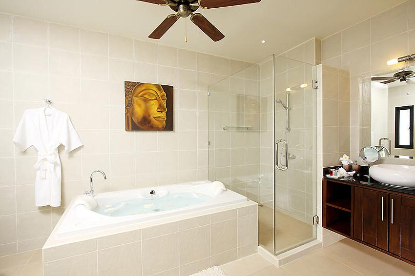 ensuite bathroom with bath sunstone villa nai harn phuket holiday rental