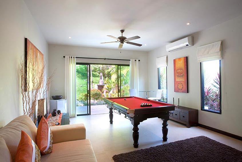 games room pool table sunstone villa nai harn phuket holiday rental