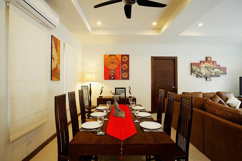 dining area indoor topaz villa nai harn phuket holiday rent