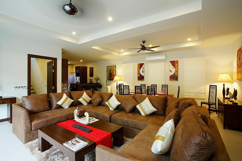 living room large sofa seating poolside topaz villa nai harn phuket holiday rent