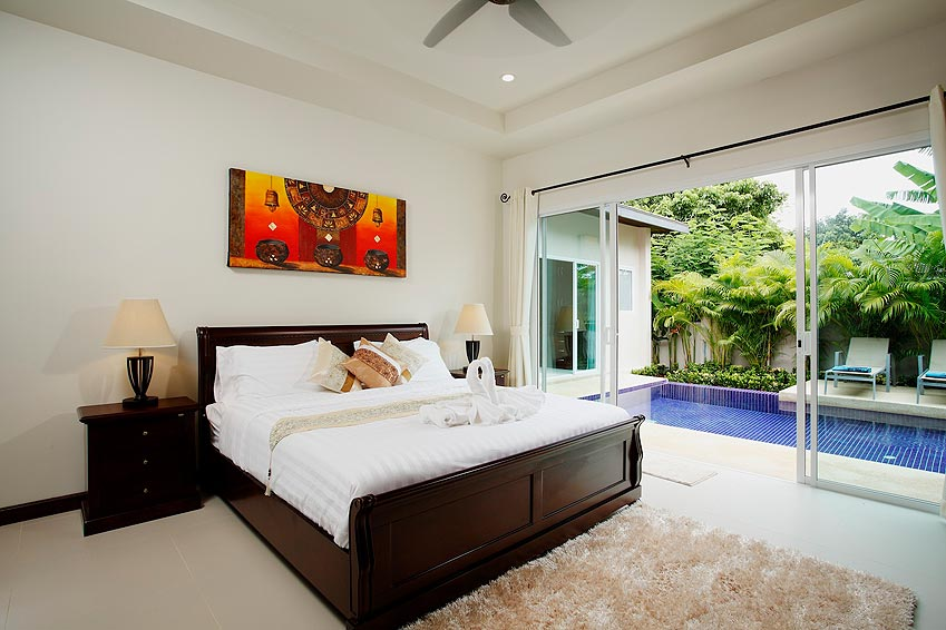 double poolside bedroom topaz villa nai harn phuket holiday rent