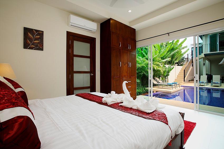 double bed patio access to pool topaz villa nai harn phuket holiday rent