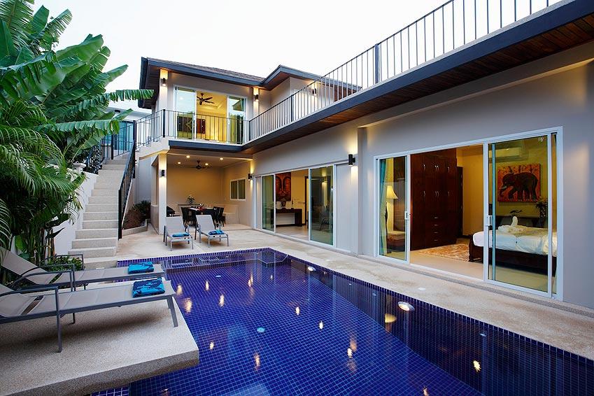 two storey poolside and balcony topaz villa nai harn phuket holiday rent
