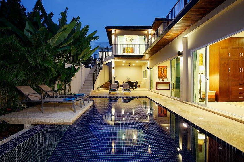 outdoor evening entertainment area topaz villa nai harn phuket holiday rent