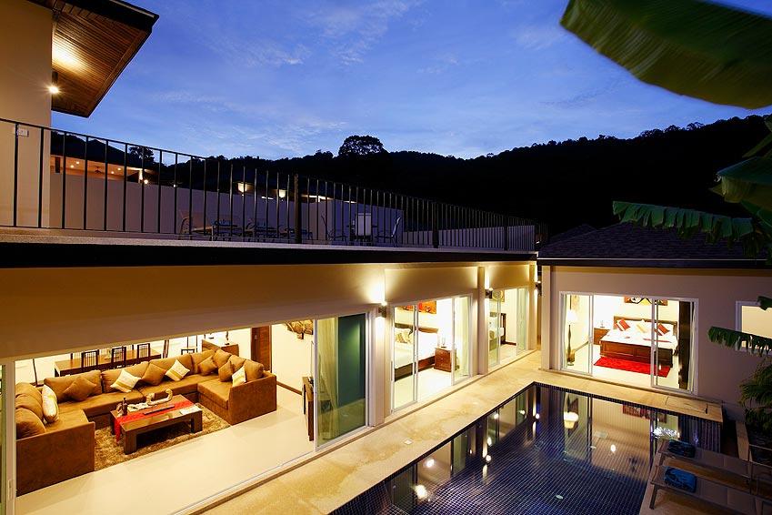 balcony views over pool and surrounding mountains topaz villa nai harn phuket holiday rent