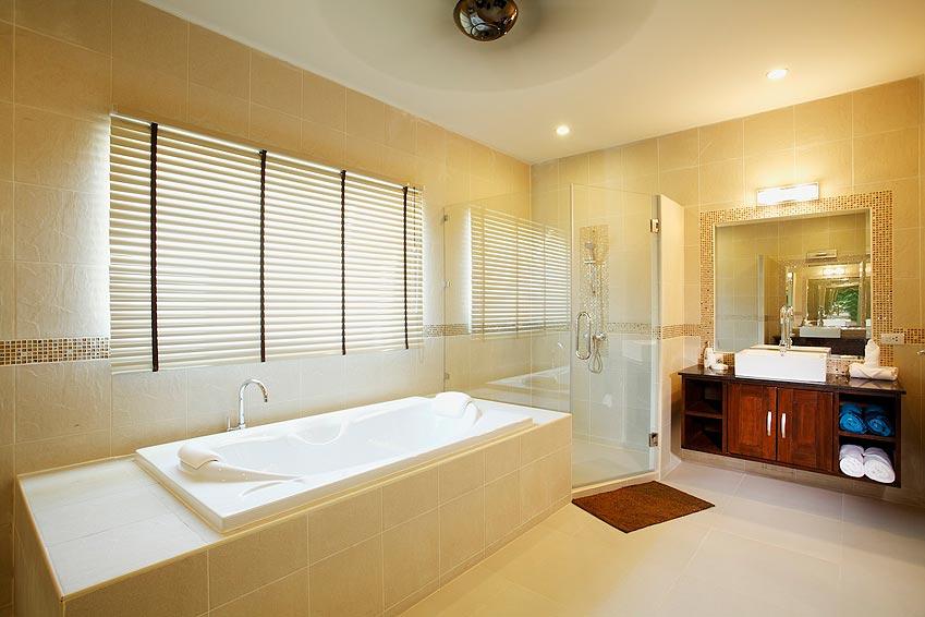 ensuite bathroom with bath, shower turquoise villa rawai phuket holiday rental